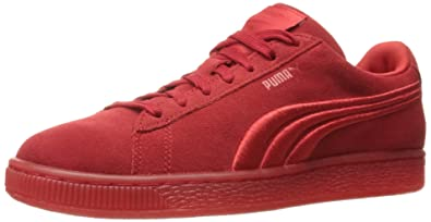 PUMA Mens Suede Classic Badge Iced Fashion Sneaker, High Risk Red, ...