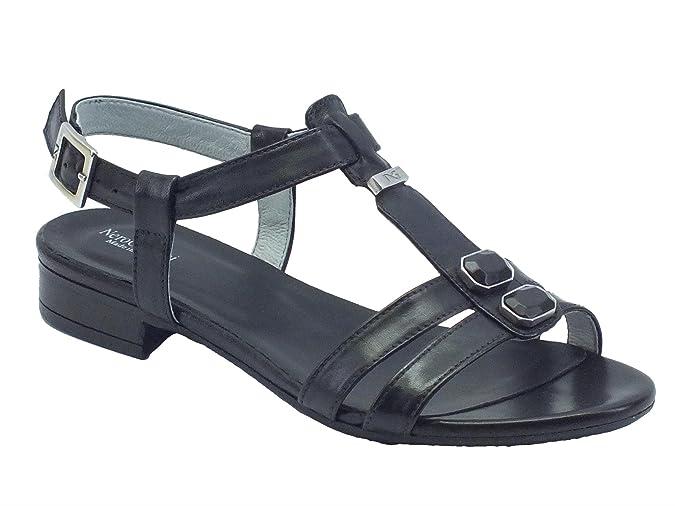 Nero Giardini Sandalo da Donna in Pelle P615710D 100 (37, Leon Nero)