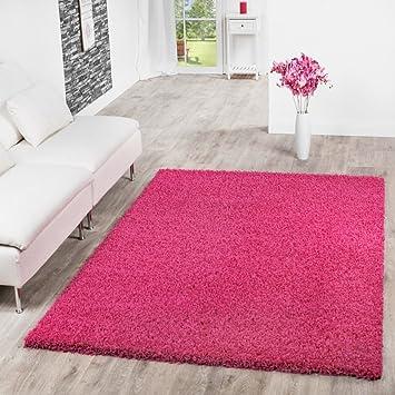 T&T Design Shaggy Teppich Hochflor Langflor Teppiche Wohnzimmer Preishammer  versch. Farben, Größe:60x100 cm, Farbe:pink