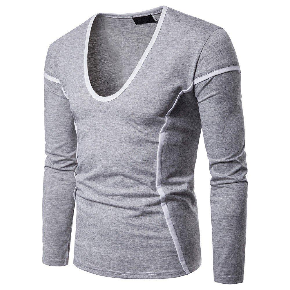 Shirts For Men, HOT SALE !! Farjing Fashion Men's Casual O Neck Long Sleeve T Shirt Pollover Top Blouse (S,Gray)