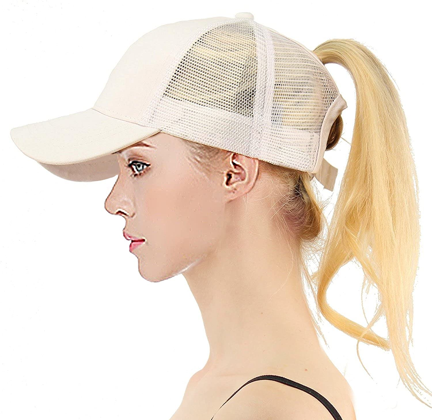 8961c64b BYGOOE Baseball Caps Women Messy High Bun Ponytail Baseball Cap Hat with  Adjustable Mesh Trucker Sport Caps-Beige at Amazon Women's Clothing store: