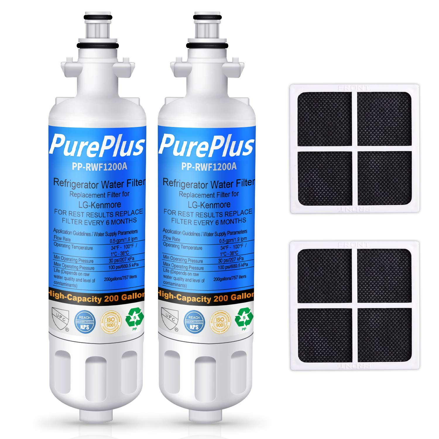 PUREPLUS 469690 Refrigerator Water Filter, Replacement for LG LT700P, ADQ36006101, Kenmore 46-9690, 9690, ADQ36006102, WSL-3, LFXS30766S, LFXC24726D, LFXS29766S and LG LT120F Air Filter Combo, 2-Pack