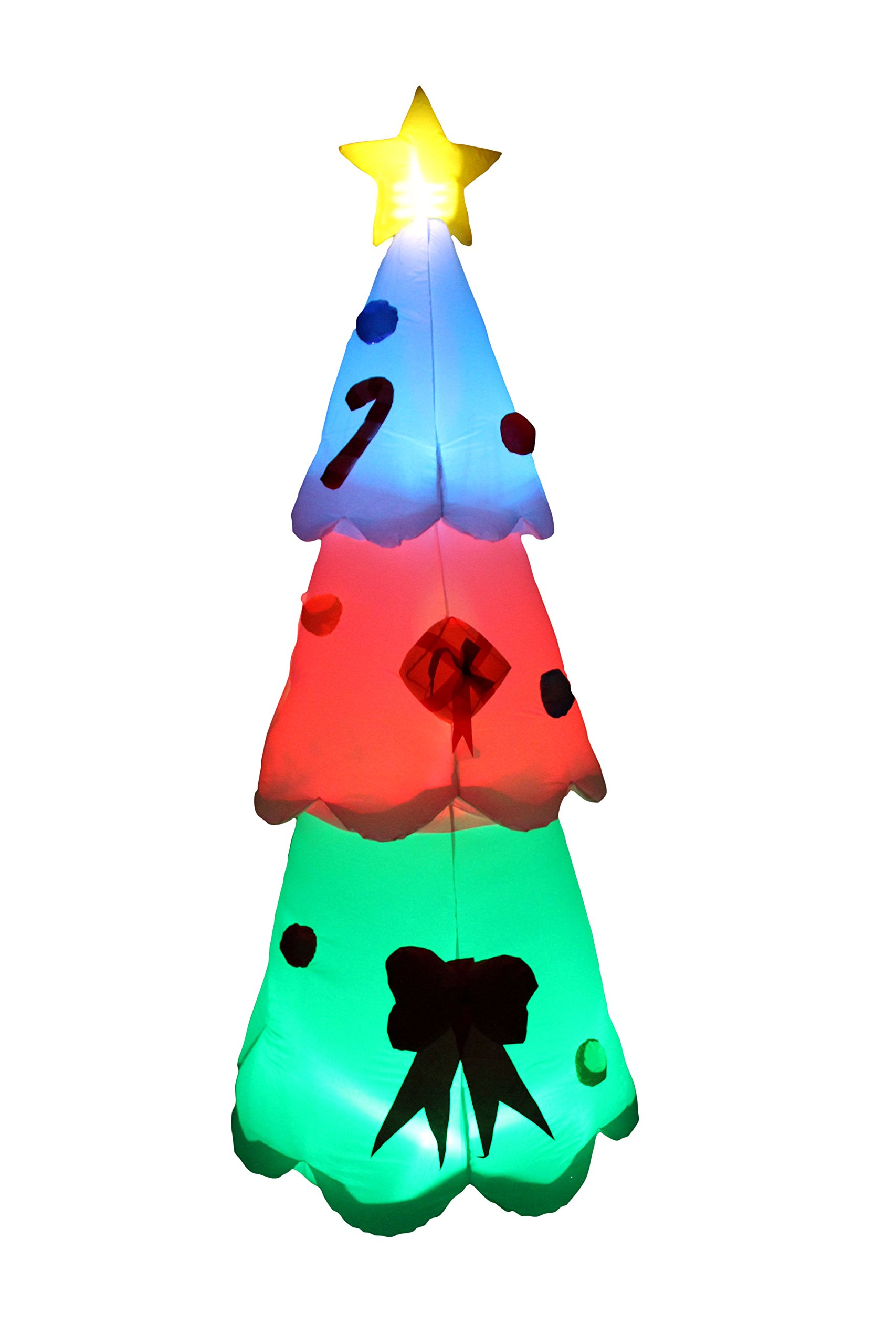 BZB Goods 8 Foot Tall Christmas Inflatable LED Color Changing Christmas Tree Lights Lighted Blowup Party Decoration for Outdoor Indoor Home Garden Family Prop Yard
