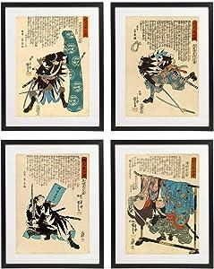 IDIOPIX Japanese Samurai Art Warriors Painting Wall Art Set of 4 Prints UNFRAMED No.3