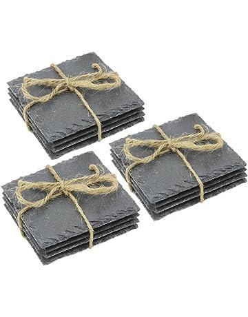COM-FOUR® 12x Posavasos de pizarra natural con pies de goma antideslizantes, 10