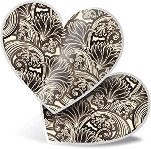 Awesome 2 x Heart Stickers 7.5 cm - Chrysanthemums Art Deco Retro Fun Decals for Laptops,Tablets,Luggage,Scrap Booking,Fridges,Cool Gift #21355
