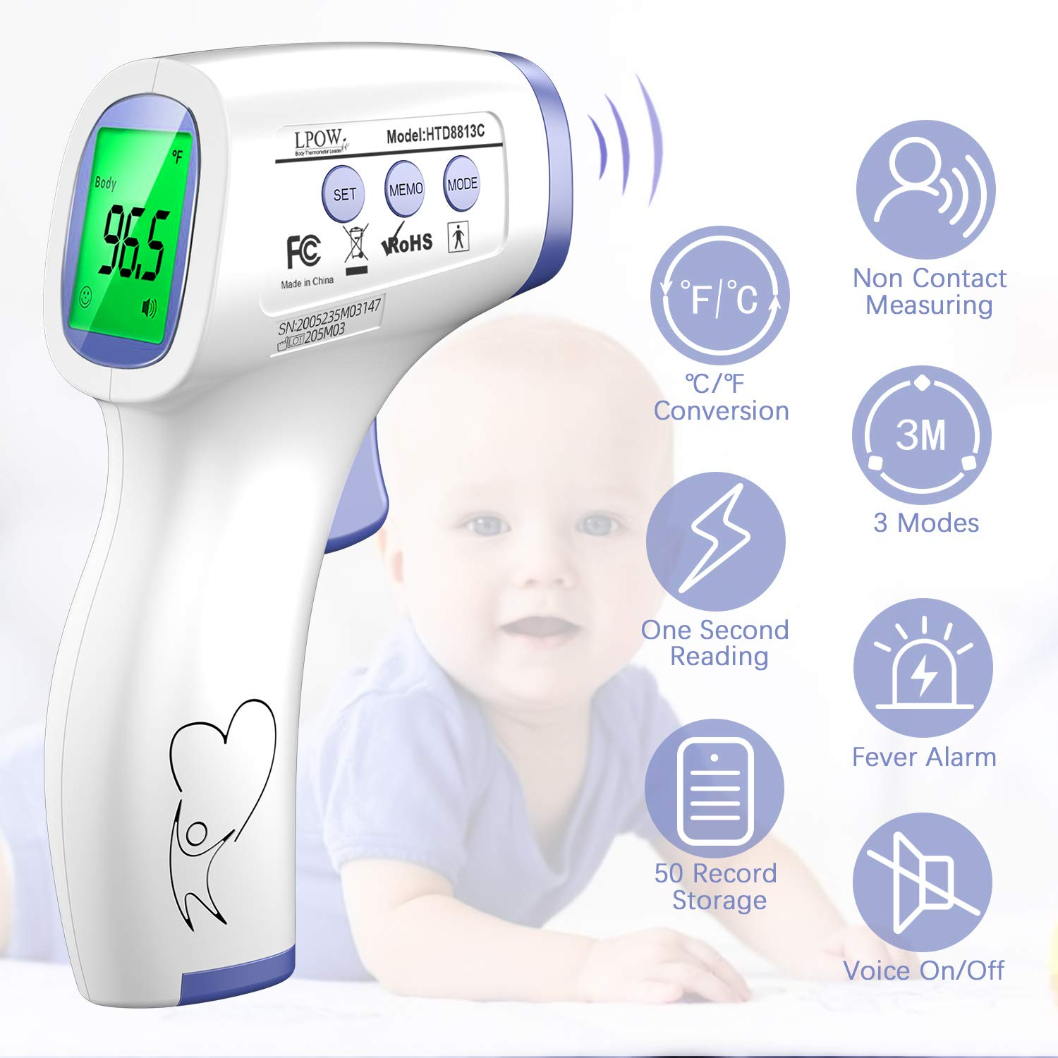 Infant Memory Recall for Kids Thermometer for Adults and Baby Indoor and Outdoor Use Forehead Digital Non Contact Infrared Thermometer with Instant Accurate Reading and Fever Alarm