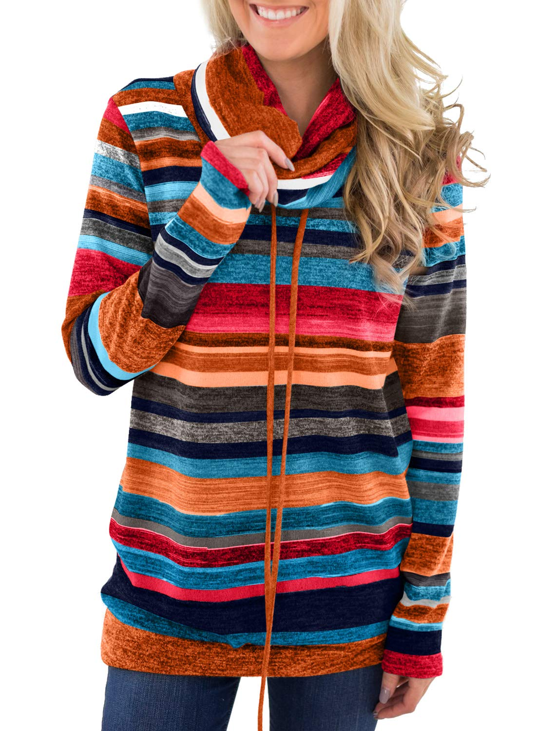 Happy Sailed Womens Cowl Neck Striped Drawstring Long Sleeve Tops Pockets