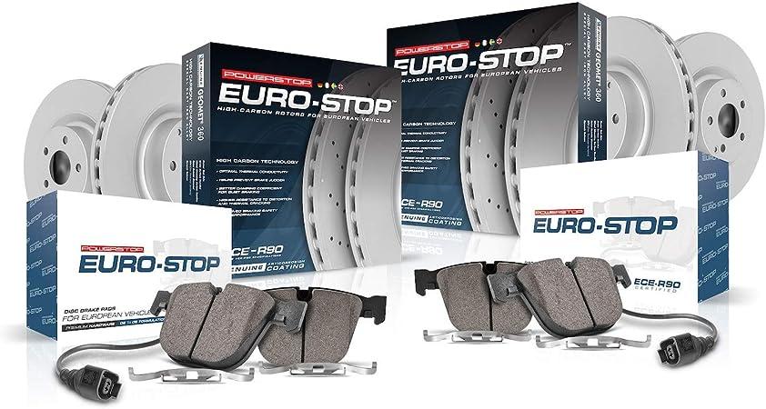 Coated Brake Rotors /& Ceramic Brake Pads Power Stop ESK7440 Euro-Stop Rear Brake Kit