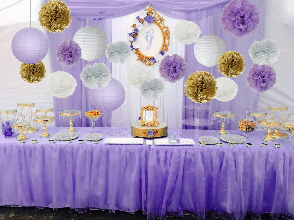 535fe98e4bb2 Furuix 20pcs White Purple Gold Grey Tissue Paper Pom Poms Paper Lanterns  Mixed Package for Purple Themed Party