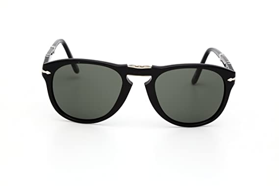 a5bf8d6272bd Persol Men's 0PO0714 95/58 52 Aviator Sunglasses,Black Frame/Green Lens 52mm