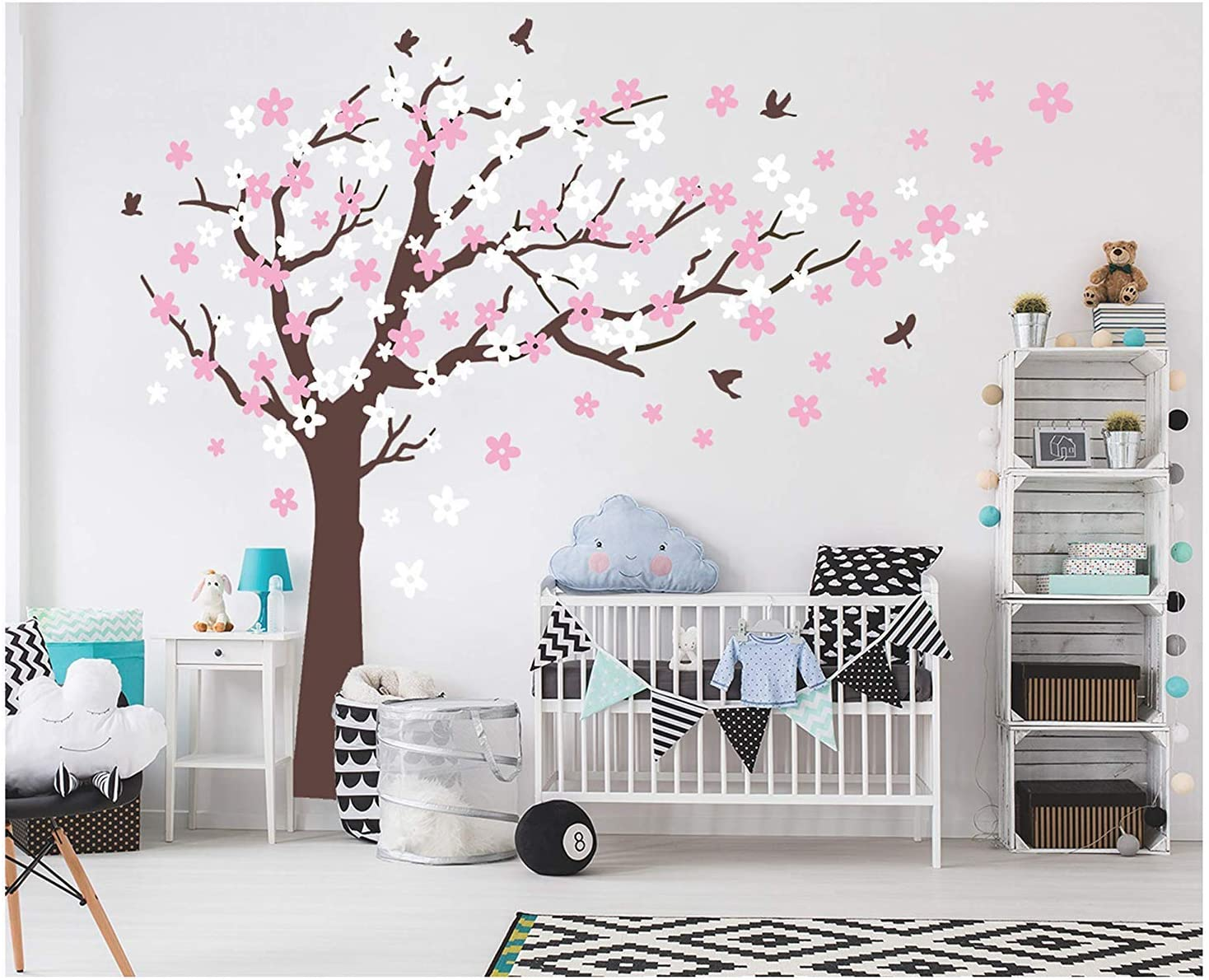 Amazon Com Aiyang Cherry Blossom Tree Wall Decals White Pink