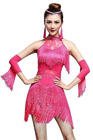 ca24dd033 AJOG Vestido De Baile Latino Mujer Borla Sin Mangas Lentejuelas ...