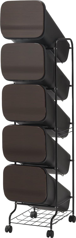 リス ゴミ箱 smooth スタンドダストボックス5Pスリム 20L×5 ウッド B019XESF96 ウッド ウッド