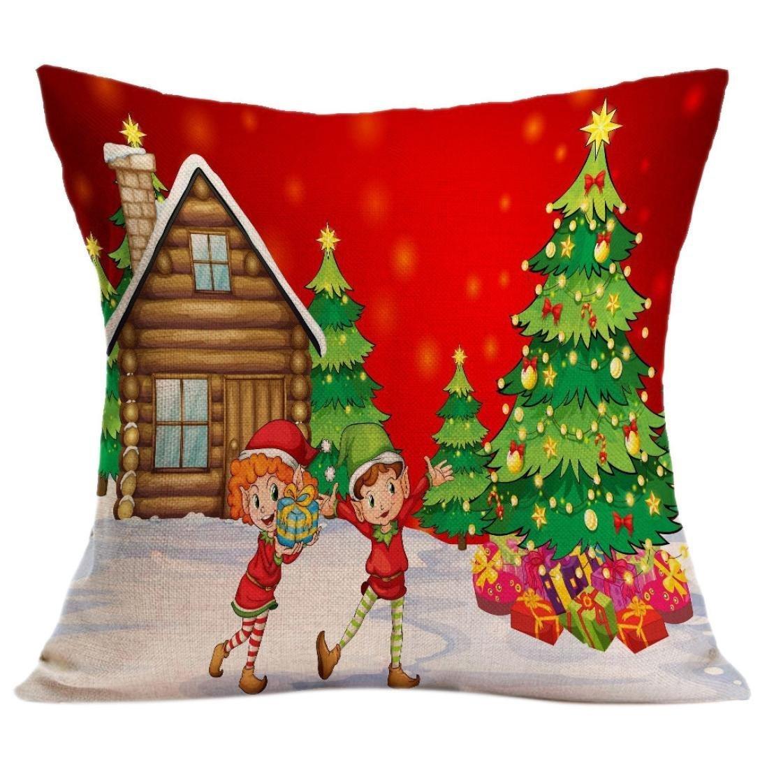 mezcla de lino funda de coj/ín y # xFF0/C; Navidad funda de almohada sof/á cintura Throw Coj/ín cover set decoraci/ón del hogar 45cm*45cm//17.7*17.7 webla sof/á funda de almohada E