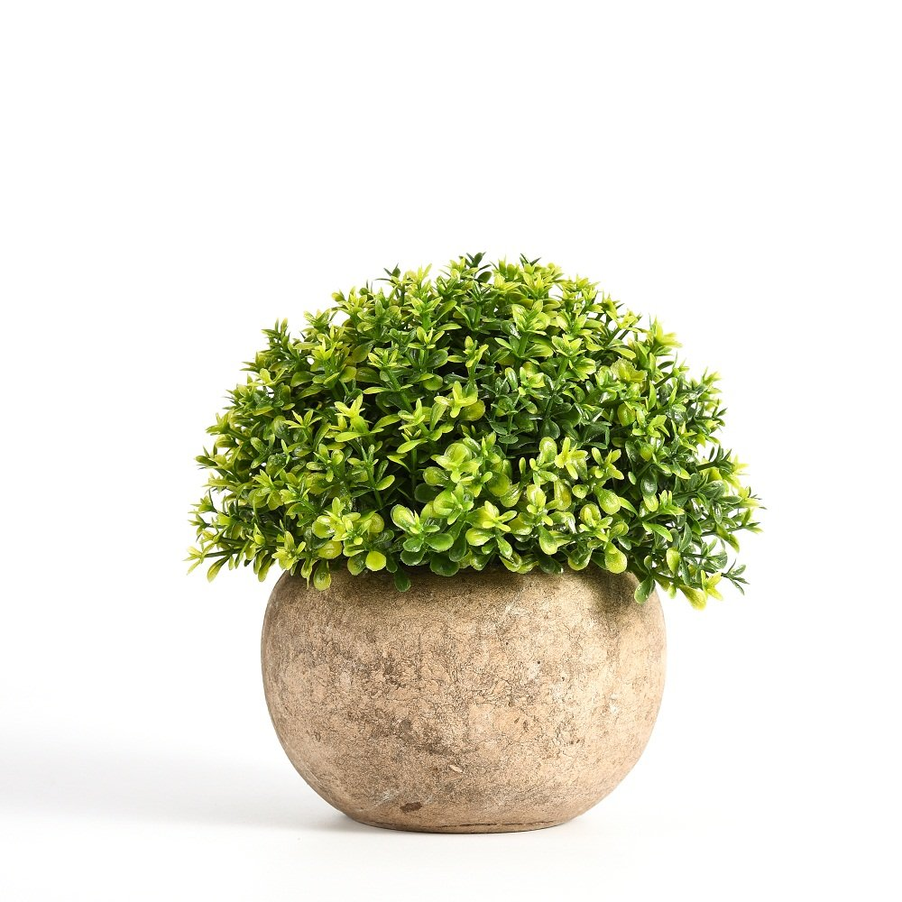 Artificial Plant Potted Green Round Retro Fake Plant for Bedroom Home Decor 5 Inch x 5 Inch Fake Mini Pot Plant Shuheng