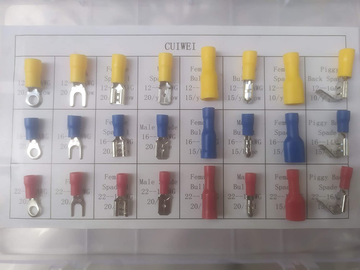 CUIWEI 220pcs Male//Female Bullet Wire Crimp Quick Disconnect Wire Terminals Connectors