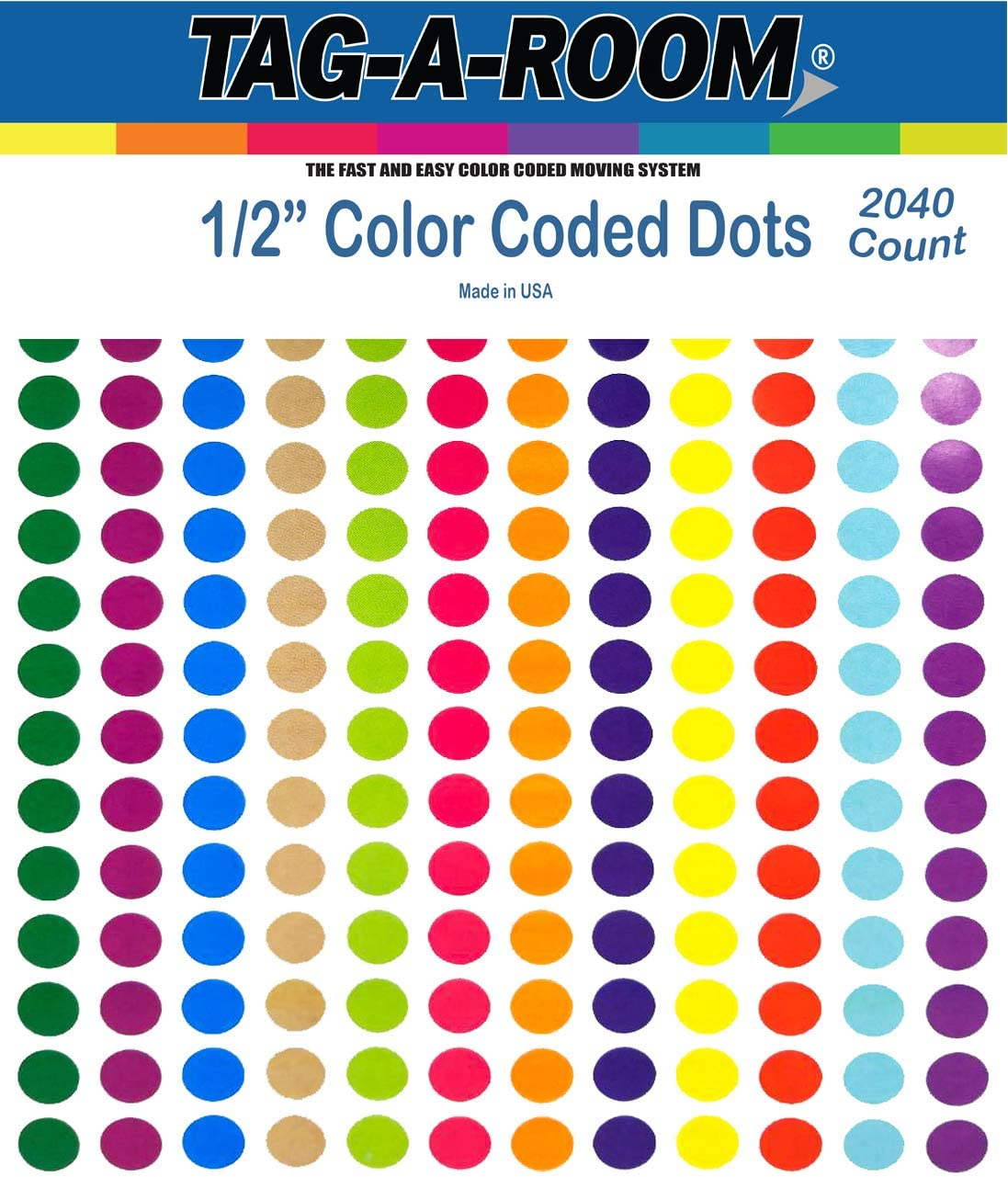 """1//4/"""" WHITE Square Color Coding Inventory Label Stickers Made In The USA"""