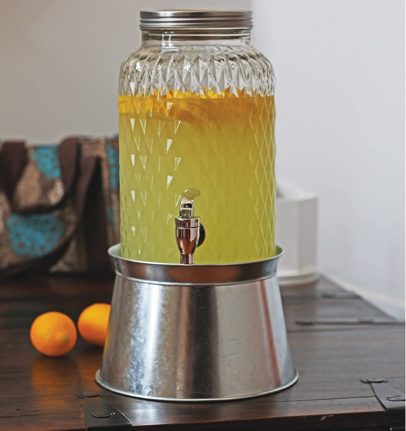 Circleware Treasure Beverage Dispenser with Stand and Metal Lid Sun Tea Jar with Spigot Entertainment Kitchen Glassware Water Pitcher for Kombucha Juice & Cold Drinks, 1.5 Gallon, Diamond