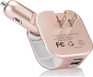 Car Wall Charger, Elepower 2 in 1 Protable Travel iPhone Charger 100-240V Dual USB Plug for iPhone 11 Pro Max X 8 7 Plus, Samsung Galaxy S10 Plus Note 20, Google, Nexus, Type C and More - Rose Gold