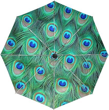 Custom Beatiful Peacock Feathers Compact Travel Windproof Rainproof Foldable Umbrella