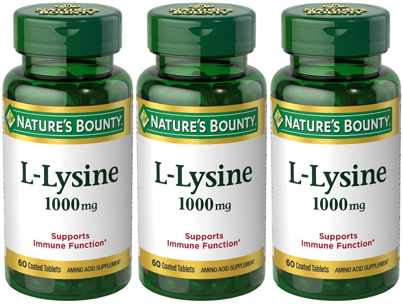 Nature s Bounty L-Lysine, 1000mg, 180 Tablets 3 x 60 Count Bottles