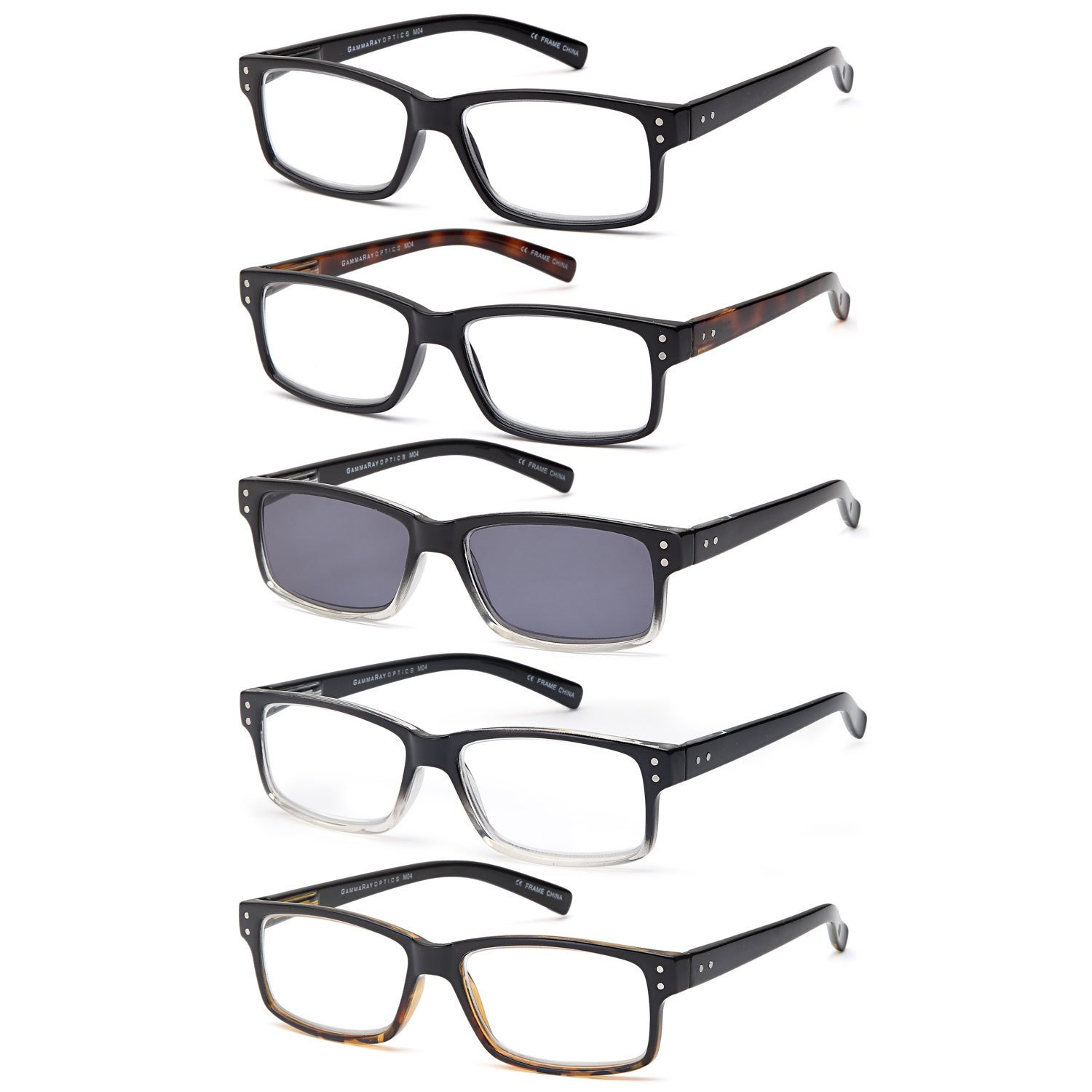 GAMMA RAY READERS 5 Pack Unisex Vintage Readers with Sun Reader Flexible Spring Hinge Reading Glasses for Men and Women – 2.00x