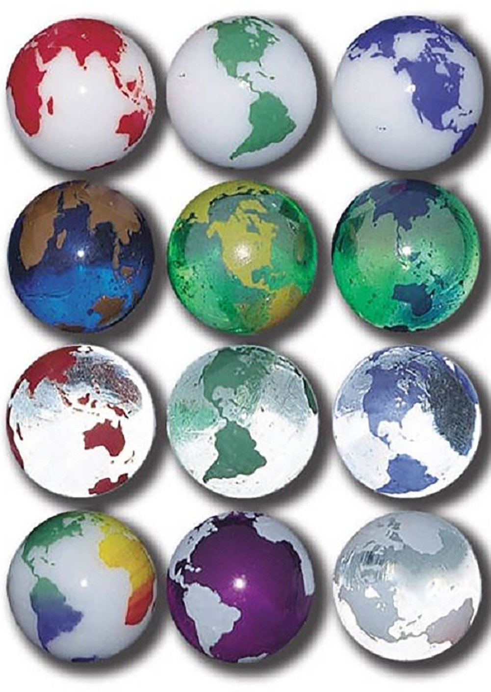 """Unique & Custom {7/8'' Inch} Set Of 50 Big """"Round"""" Opaque & Clear Marbles Made of Glass for Filling Vases, Games & Decor w/ Vibrant Educational Rainbow Earth Globe Cool Design [Assorted Colors]"""