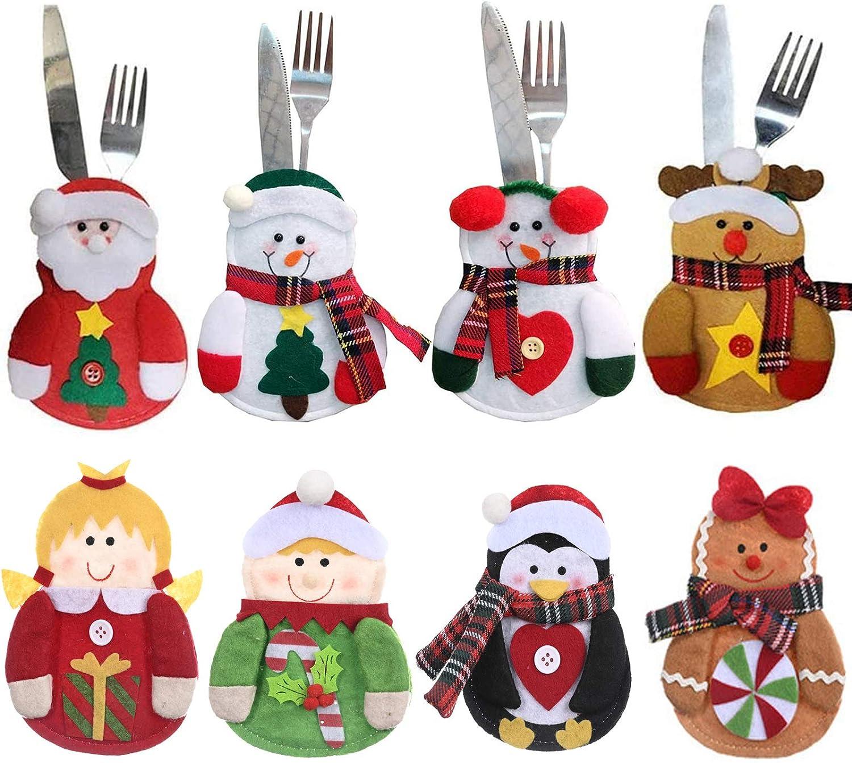 Gohist 8 soportes para cubiertos de Navidad con dise/ño de Pap/á Noel