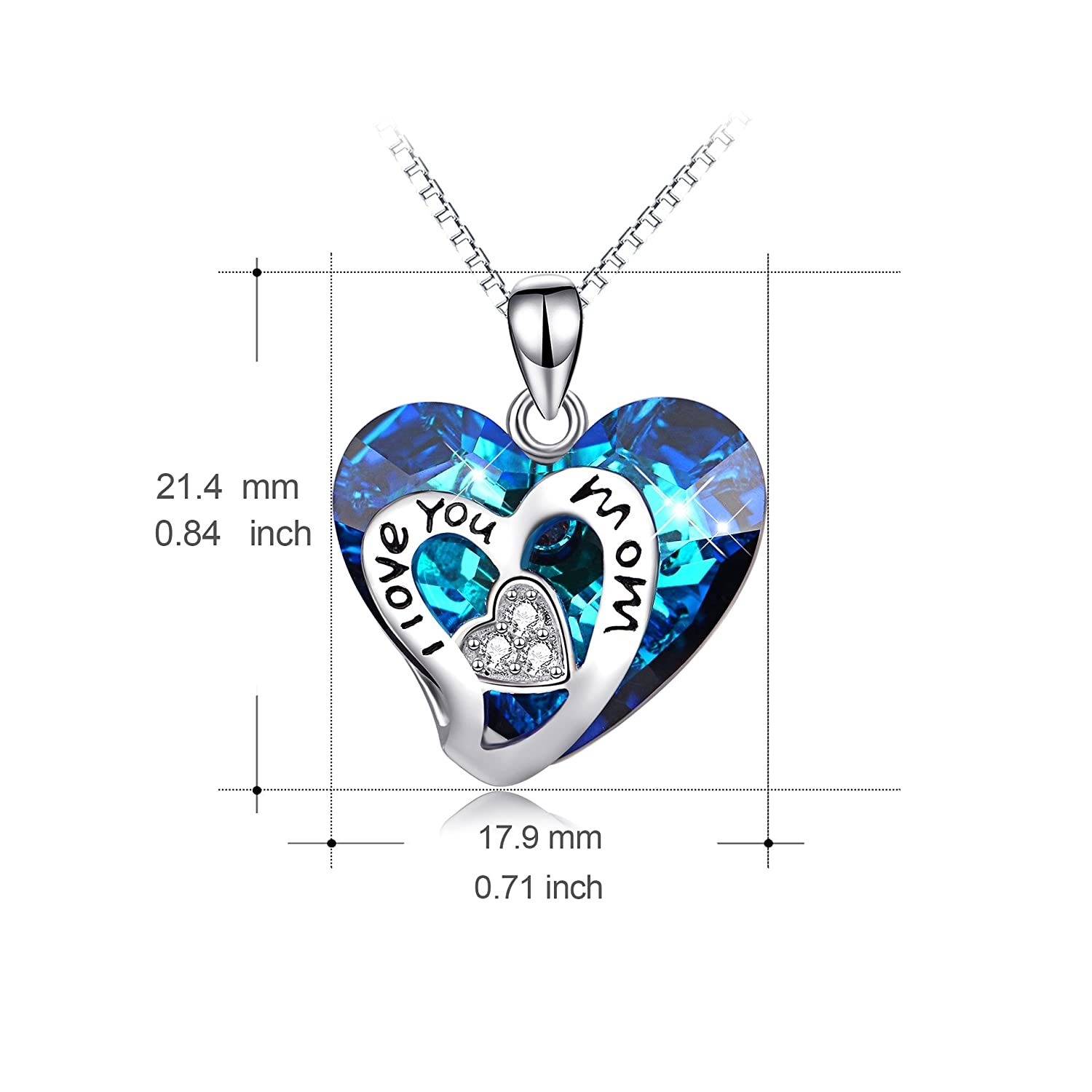 Fine Jewelry Collection Here Sterling Silver 925 18mm Heart Pendant With Fine Box Chain Necklace Real Silver Jewelry & Watches