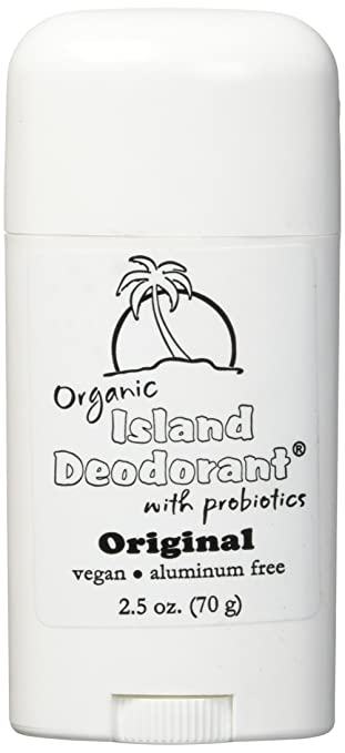 Organic Island Deodorant, 2.5 oz Probiotic Deodorant Stick, Natural, Aluminum-free, Unscented, Vegan (Single Stick)