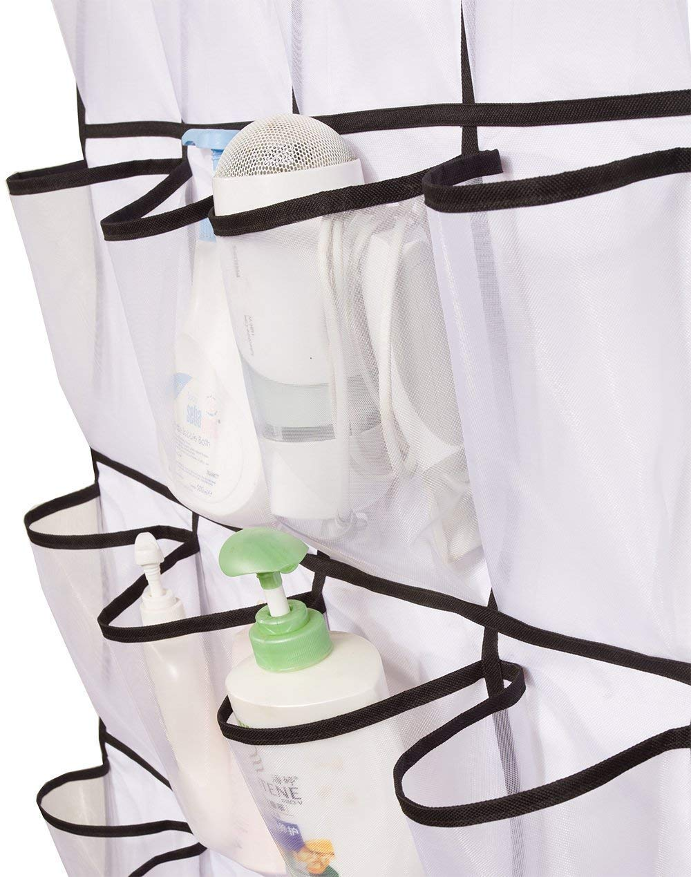 color blanco Tebery 24/grandes bolsillos de malla para colgar sobre la puerta organizador de zapatos con 4/ganchos sobre la puerta de acero