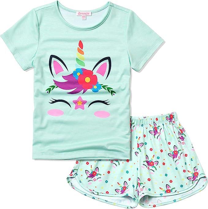 Baby Kids Pajamas Set Unicorn Printed Kids and Girl Boy Short Sleeve Sleepwear