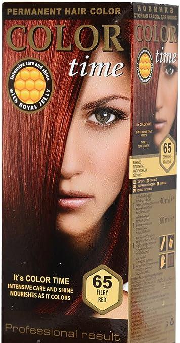 Color time, tinte permanente para el cabello de color rojo ardiente 65