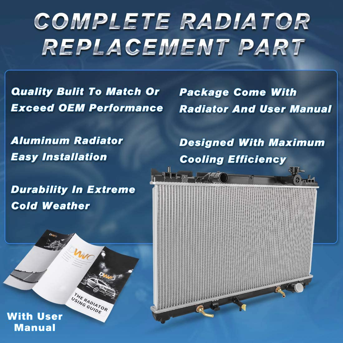 Completer Radiator Compatible for 2002-2006 Toyota Camry Base LE XLE SE Compatible for 2005-2008 Toyota Solara SE SLE Sport 2.4L L4 DWRD1037