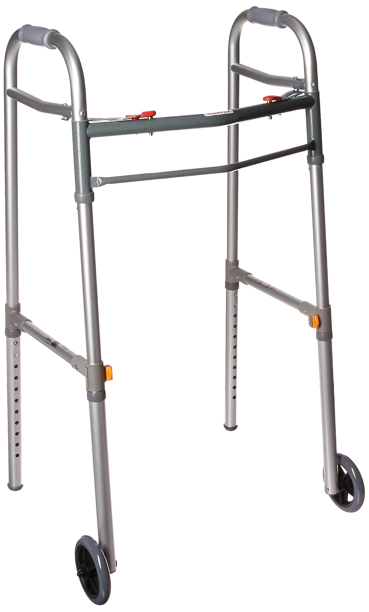 Drive Medical Deluxe Two Button Folding Universal Walker with 5'' Wheels, Gray, Adult/Junior