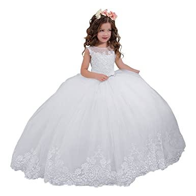 38e1a0e509c enjoybeauty Lace Flower Girl Dress Appliques Sleeveless Girls Communion  Dresses 2-14 Year Old