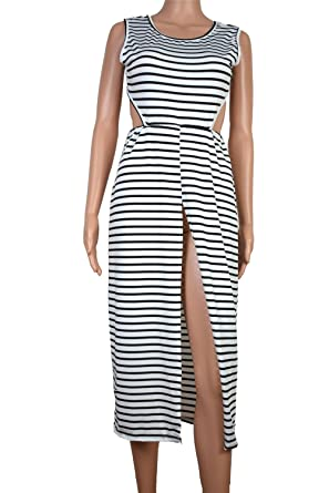 Gome-z Clothing Summer Long Dress Striped Sleeveless White Maxi Dress 2018 Boho Ladies Beach Dresses Vestidos at Amazon Womens Clothing store: