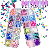 Kyerivs 3D Butterfly Nail Glitter Sequins, 24 Colors Laser Nail Art Flake Acrylic Manicure Paillettes, Holographic Nail…