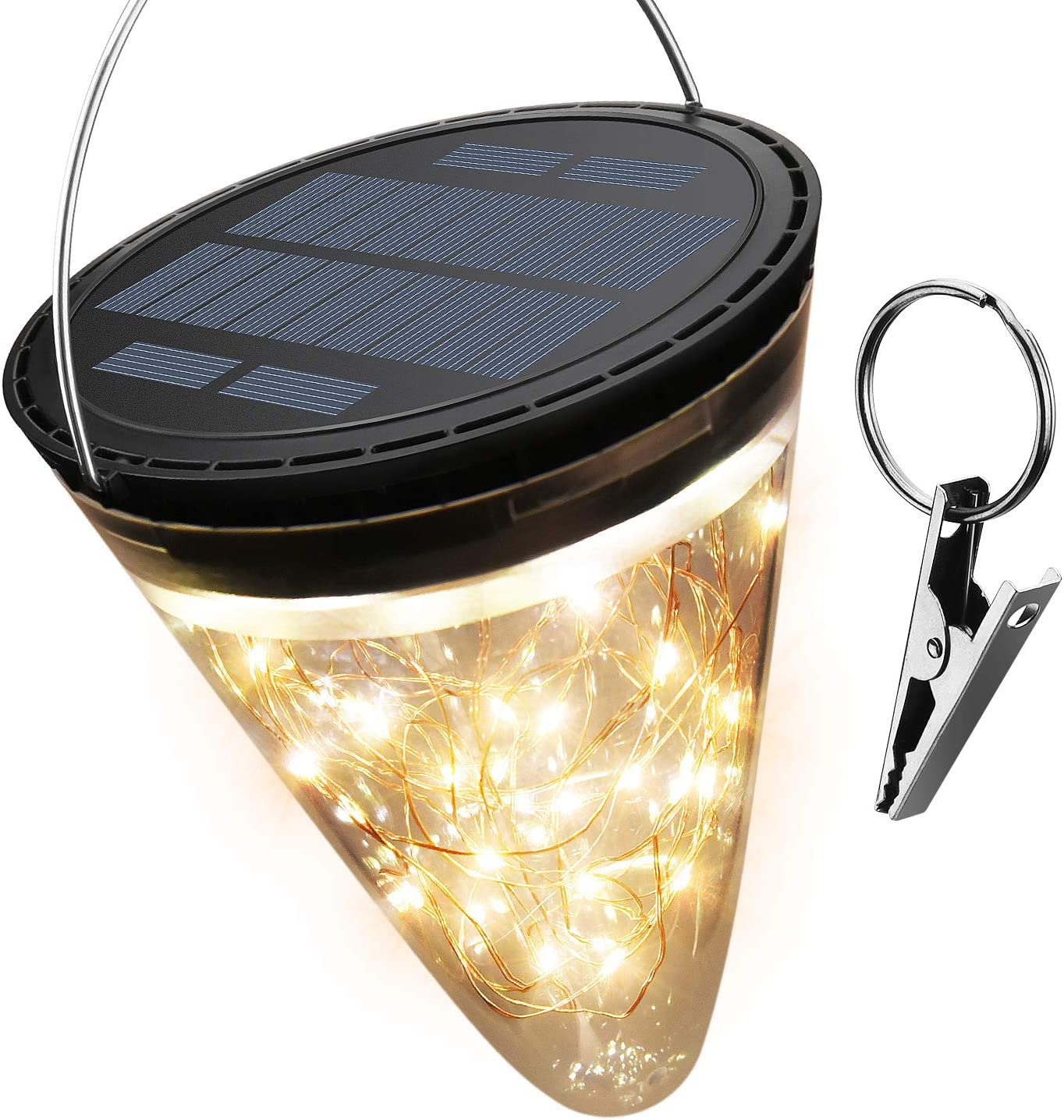 50 LED Solar Lantern Light 2800K Warm JACKYLED 2200mAh Cone Solar Hanging Light Waterproof Tabletop Lamp with 3 Lighting Modes for Garden Patio Pathway Landscape Party Decoration 1-Pack