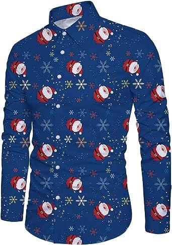 Goodstoworld Camisas de Navidad para Hombre Camisas Feas de Navidad Camisas de Manga Larga Estampadas con Gráficos de Duende para Navidad M-XL: Amazon.es: Ropa y accesorios