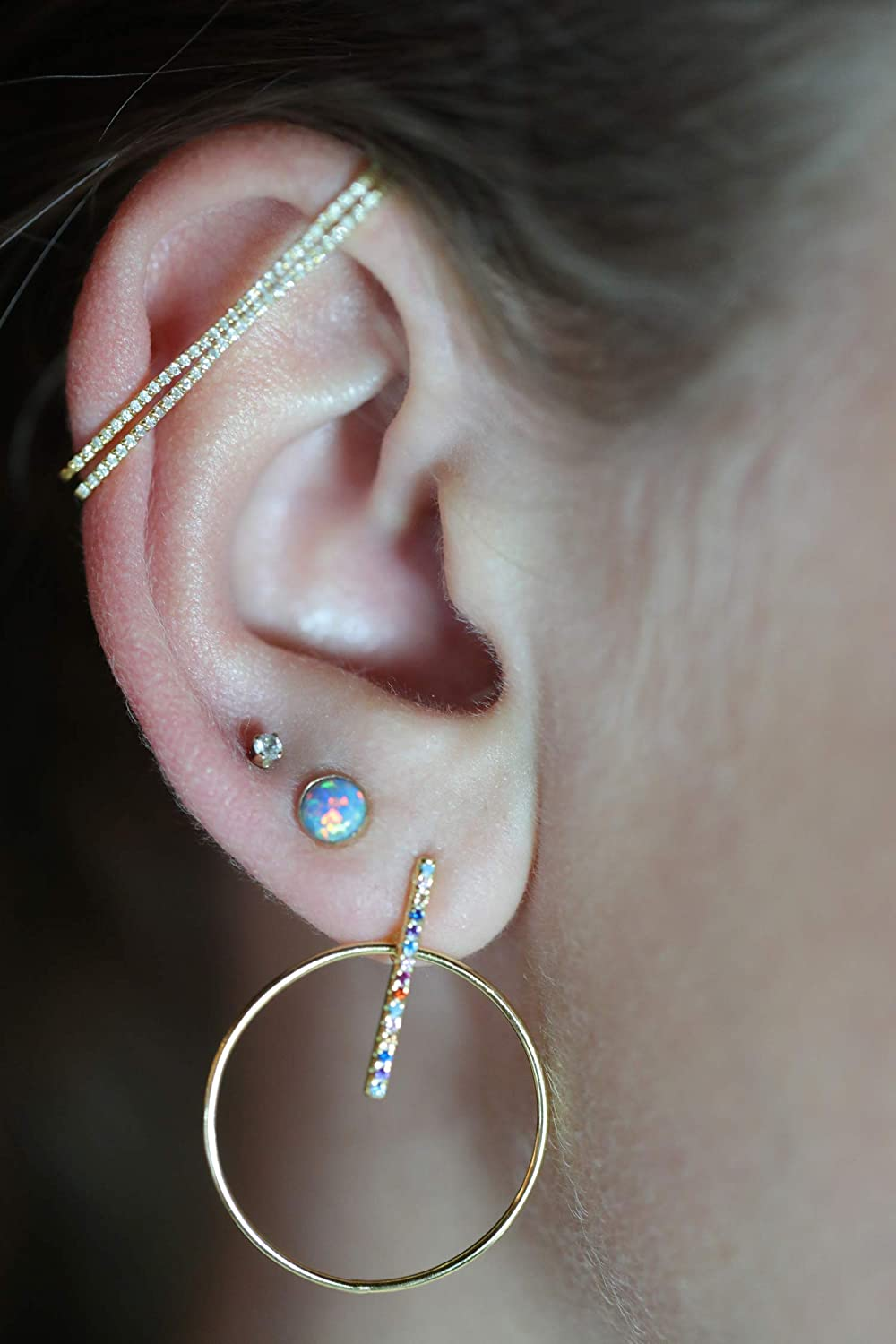 Diamond Cartilage Bar Cuff Earring- NO PIERCING- Real Diamonds- 14k gold over Sterling Silver