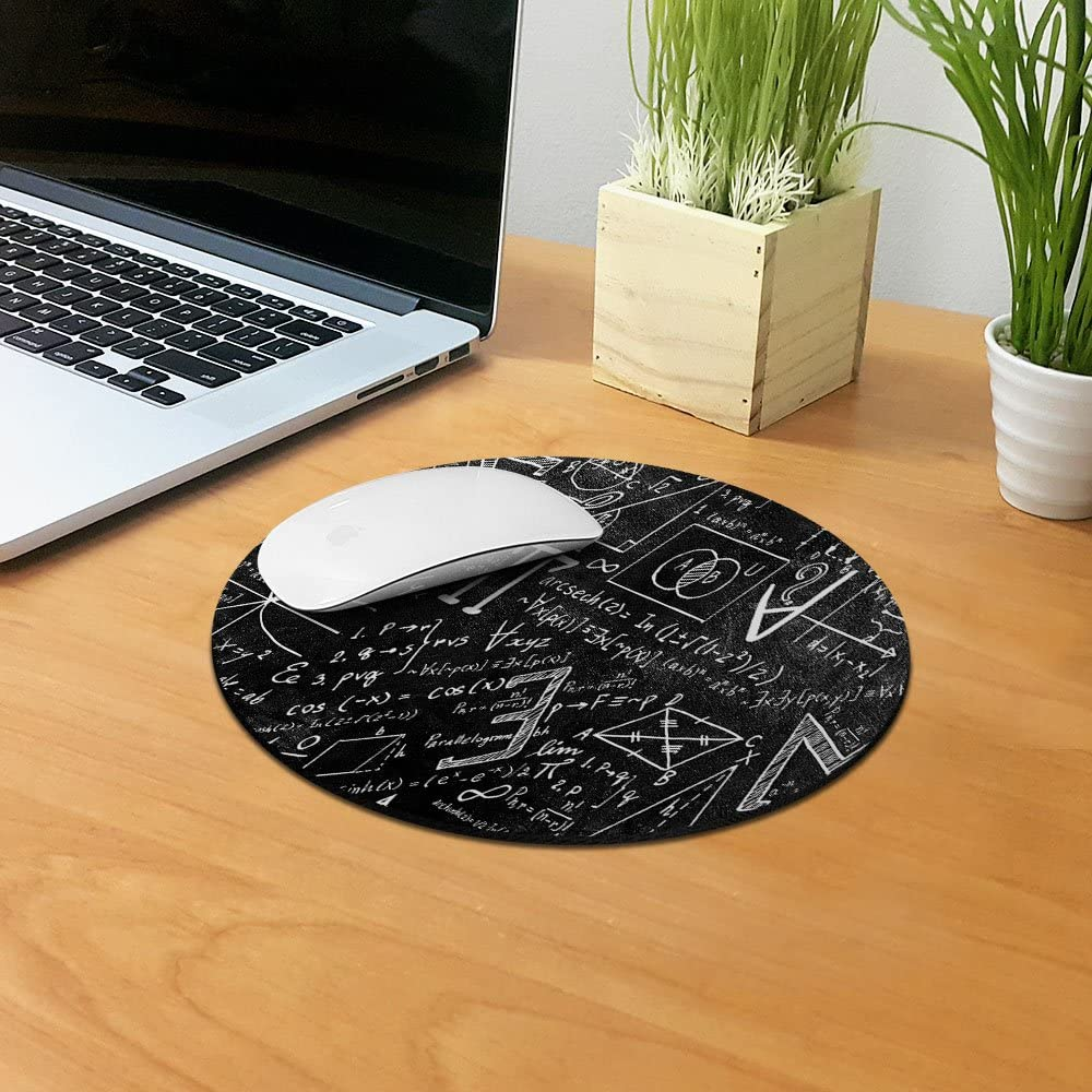 Non-Slip Round Mousepad FINCIBO Math Equations Blackboard Mouse Pad for Home Office and Gaming Desk
