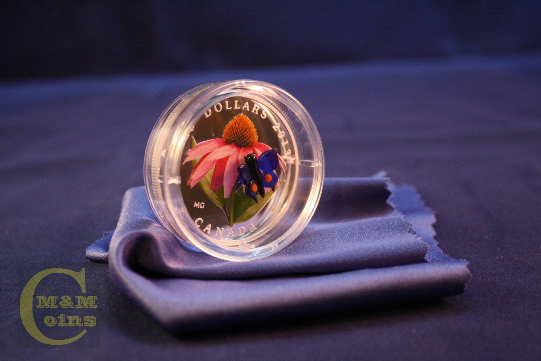 2013 Canada $20 Purple Cornflower Venetian Glass Butterfly 1oz Silver Coin