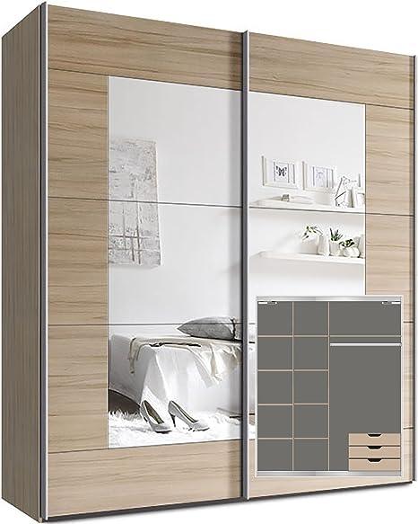 Armario ropero Webesto con puertas correderas, aprox. 200 cm, incluye 9 estantes, amortiguador de puerta para 2 puertas y 3 cajones de madera de haya: Amazon.es: Hogar