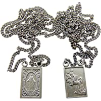 Westman Works Pewter Catholic Scapular Medal Our Lady of Mount Carmel & Sacred Heart on a Stainless Steel Chain