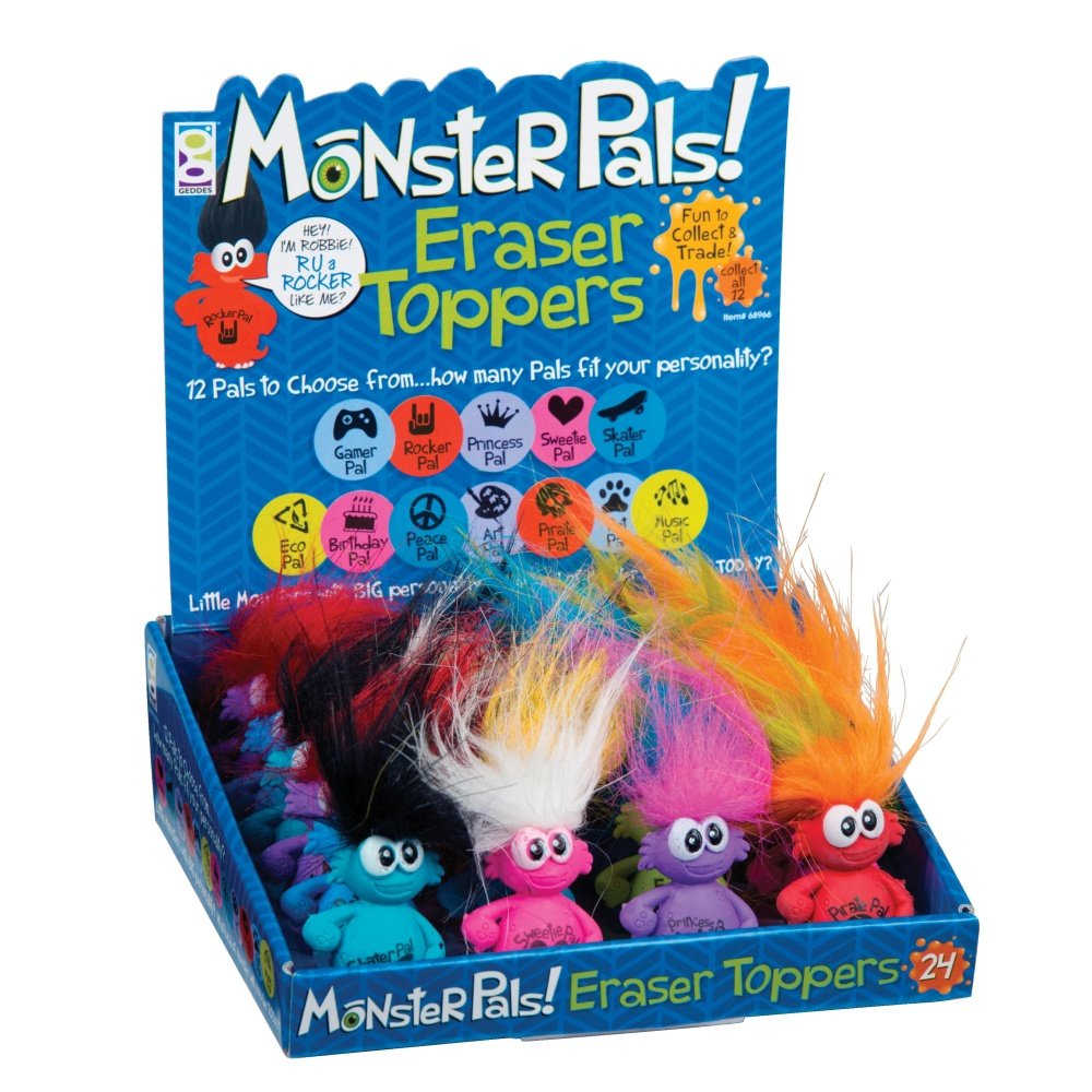 Raymond Geddes Monster Pals Eraser Toppers, 24 Pack (68966)