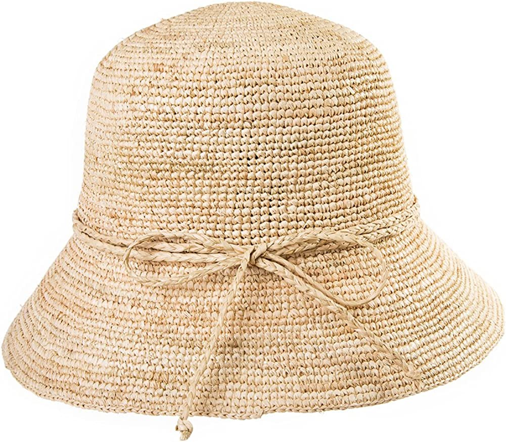 SIGGI Stroh Sommerhut mit Sonnen Shade f/ür Damen schlaffer Strand Sonnenhut Breite Krempe