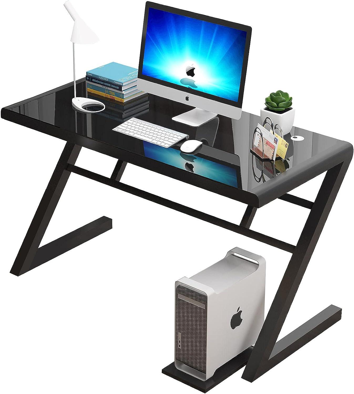 Computer Desks for Home Office Desk Gaming Desk Office Desks for Home Work Desk for Home Office Small Office Desk Tempered Glass Desks for Home Office ZIRANYU (Black)