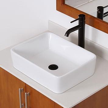 ELITE Bathroom Rectangle White Ceramic Porcelain Vessel Sink U0026 Oil Rubbed  Bronze Faucet Combo